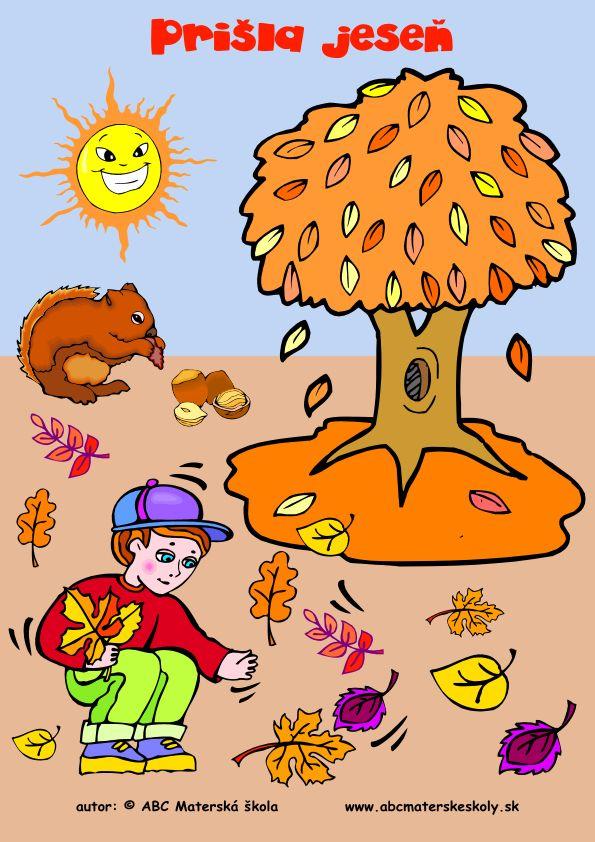 Prišla jeseň - farebný pracovný list z ABC materské školy