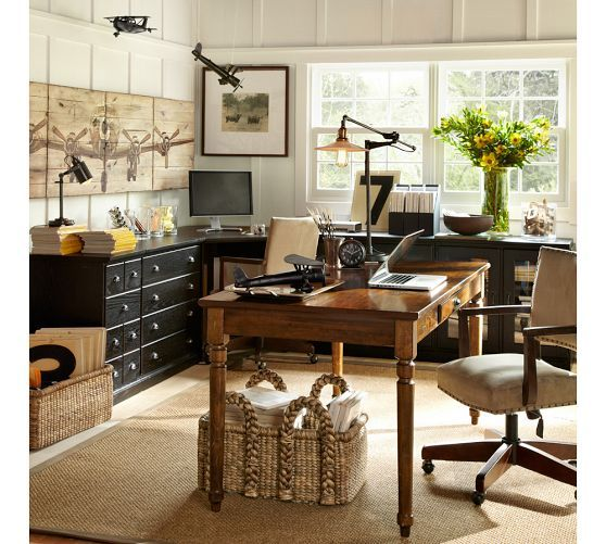 Love the layout of this room and the organization printer 39 s writing desk large pottery barn - Pottery barn office desk ...