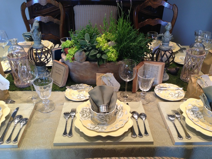 County french table setting by dress the table party - French country table centerpieces ...