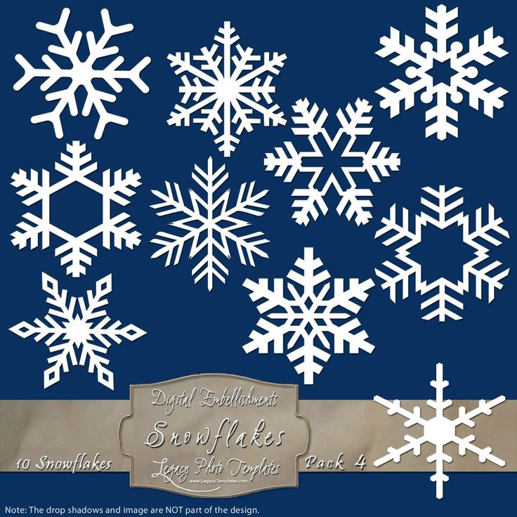 10 Frosty Snowflake Overlays - Pack 4 $4.50 #snowflakes, #white, #winter, #embellishment, #scrapbooking