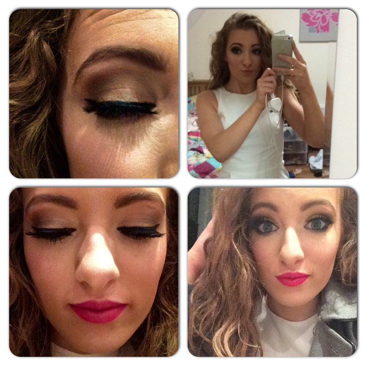 Going out make up- neutral golden eye red lip strong contour