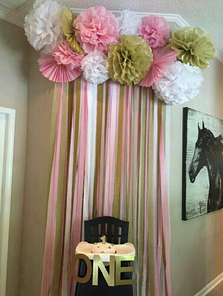 17 best dorado blanco y rosa cumplea os babyshower - Decoracion para bautizo en casa ...