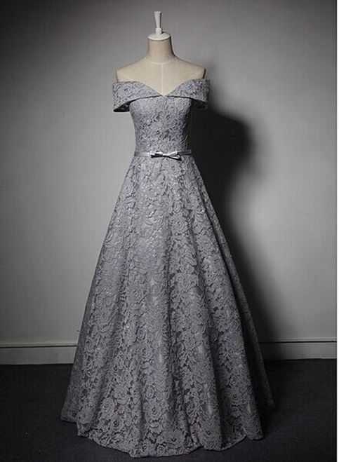 New Style Long Prom Dress,Lace Prom Dress,Off Shoulder Prom Dress,Gray Prom Dress,Charming Prom Dress,Lace Prom Dresses,Cheap Prom Dress For Teens