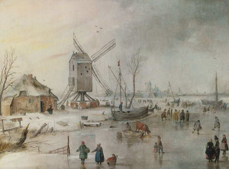Hendrick Avercamp: Winter Scene with Skaters by a Windmill