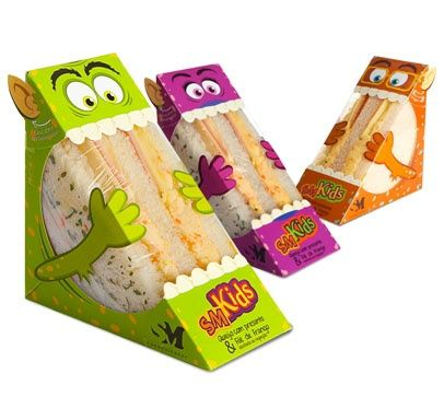 Brazilian design agency, Quadrante Design - The sandwich company is called SM Kids and each box is designed to look like a different monster character