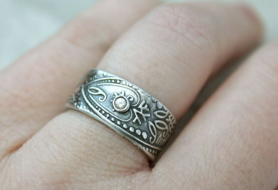wide paisley wedding band with sapphire unique by peacesofindigo, $204.00