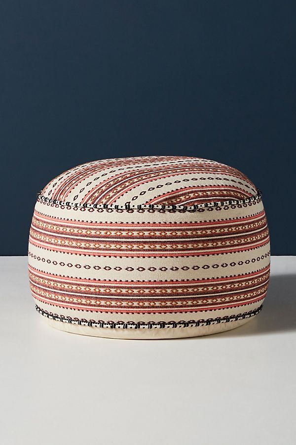 Handwoven Stripe Moroccan Pouf In 2020 Moroccan Pouf Pouf