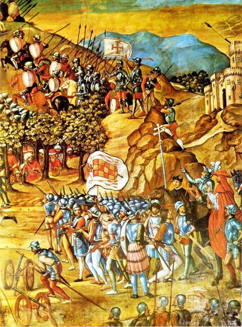 Soldados españoles en la toma de Orán, pintados por Juan de Borgoña hacia 1514.