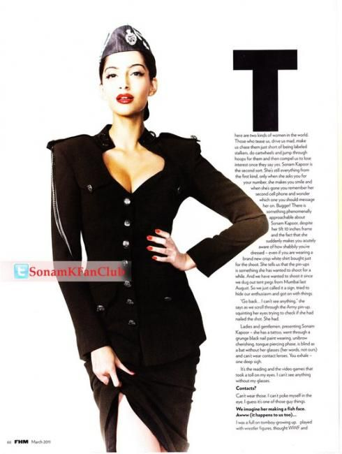 Ndenger Wallpaper: Sonam Kapoor FHM Magazine Photoshoot Scans March 2011