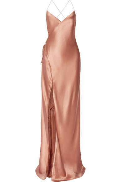 Rose Gold Slip Wrap Dress // Follow us on Instagram, Facebook and Twitter: @thebohemianguide #bohowedding #rosegold #bridesmaid