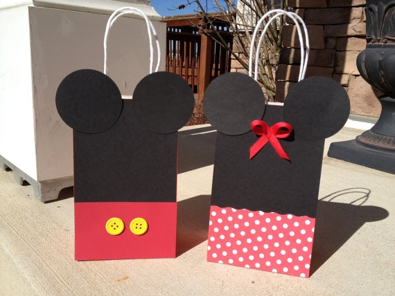 Mickey  Minnie Mouse Birthday Party Gift Bags by PrettyInPrintShop on Etsy.