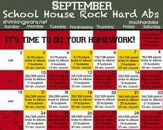 September Fitness Calendar from @Shrinking Jeans - School House Rock Hard Abs. www.shrinkingjeans.net #fitness #abs #monthly