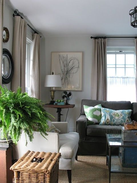 Grey and Tan.: Grey Couch, Cottages Living Rooms, Idea, Curtains, Color Schemes, Black And White, Wall Color, Grey Sofas, Urban Cottages