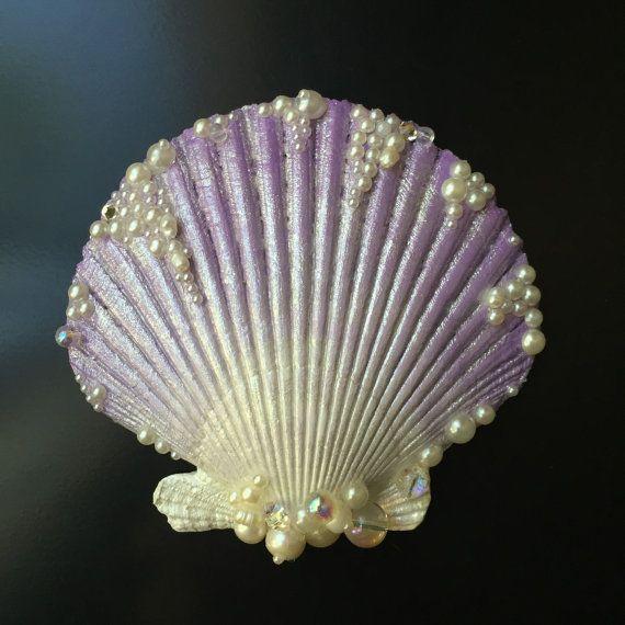 Lavender Seashell Hair Clip by LandlockedM3rmaid on Etsy