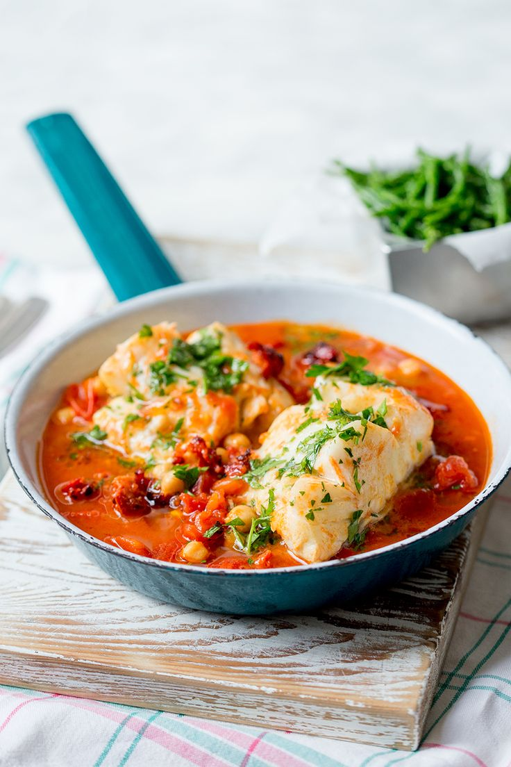 Spanish cod simmered in chorizo and saffron spiked broth with chick peas, lemon and parsley.