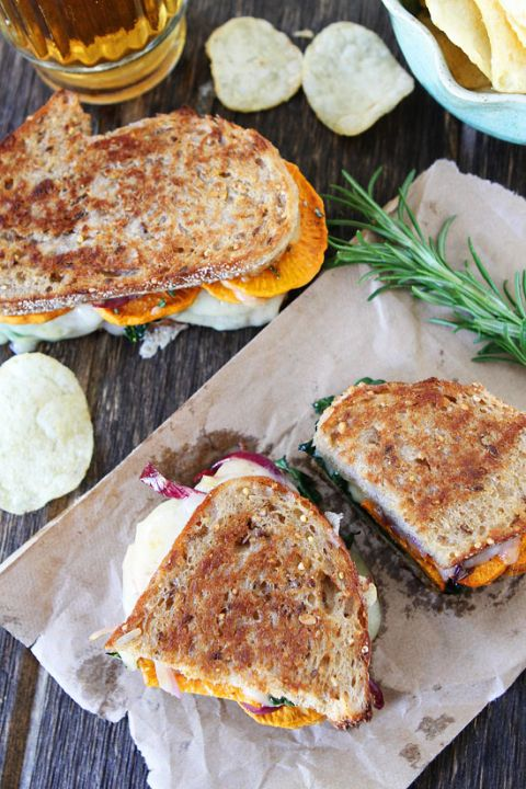 Sweet Potato and Kale Grilled Cheese Recipe on twopeasandtheirpod.com LOVE this vegetarian grilled cheese!