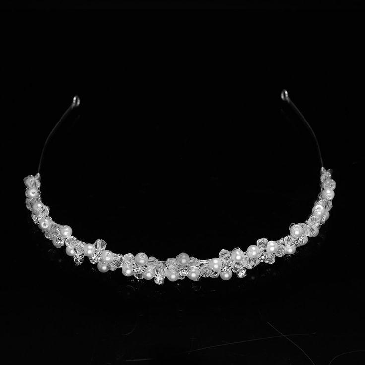 Bridal Tiara Headband Silver Crystal Rhinestones, Pearls, Crystal Beads  $51.05