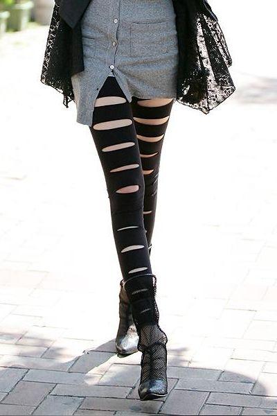 Cut Out Style Black Leggings
