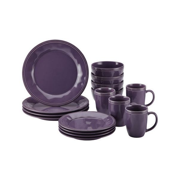 Rachael Ray Cucina, Purple 16-Piece Set ($70) ❤ liked on Polyvore featuring home, kitchen & dining, dinnerware, rachael ray dinner plates, purple dinnerware, stamps china, stoneware salad plate and rachael ray dinnerware sets