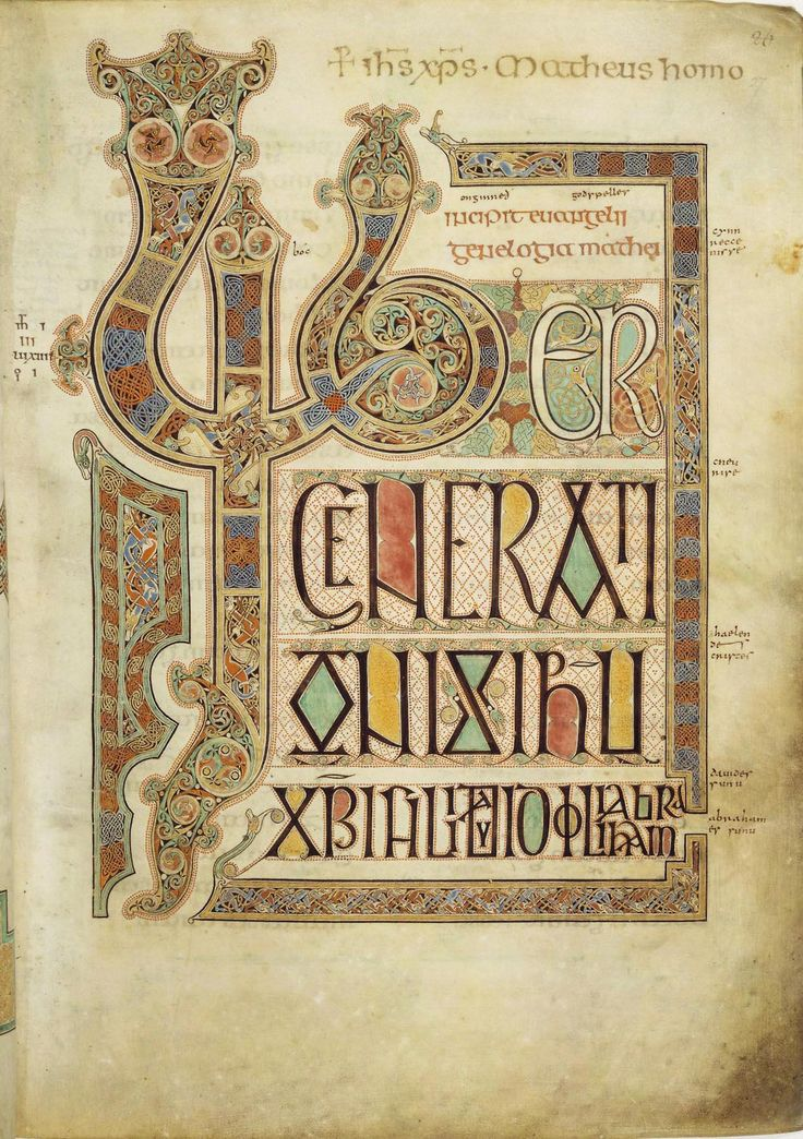 fascinating detailed design by monks in the 7th century / first page of an illuminated manuscript of the Gospel of Matthew, Lindisfarne Gospels