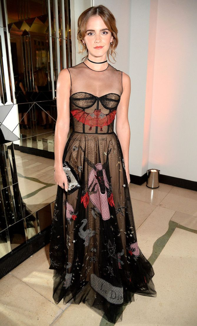 Emma Watson in a patterned Dior dress