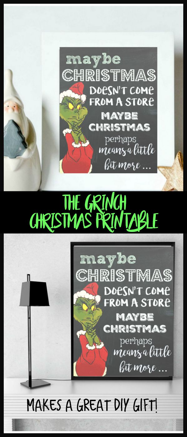 This is as classic! I LOVE The Grinch! #grinch #printable #christmasdecor