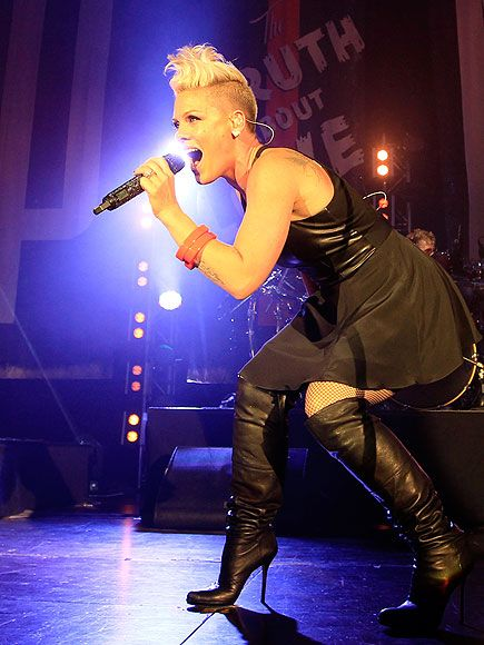 Following a fashionable outing, Pink hits a high note Friday while performing songs from her latest album, The Truth About Love, in Munich, Germany.