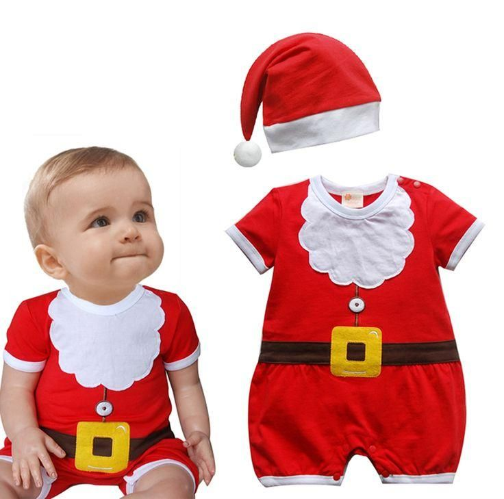 Baby Christmas Santa Suit - First Christmas - Baby's first christmas - Dress Up - Outfit - Baby Santa - Santa Hat