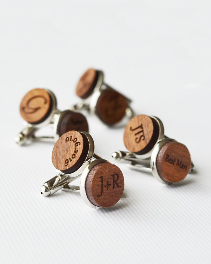 Groomsmen Cuff Links, 5 Pairs of Walnut Wood Groom Cufflinks, Usher Cufflinks, Wedding Cufflinks, Best Man by MishiuFerris on Etsy