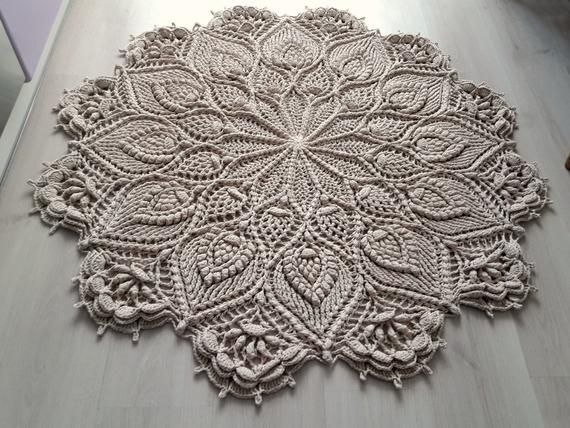 Doily Crochet Rug Round Rug Giant Doily Cottage Chic Rug Etsy In 2020 Crochet Rug Crochet Carpet Crochet Doily Rug