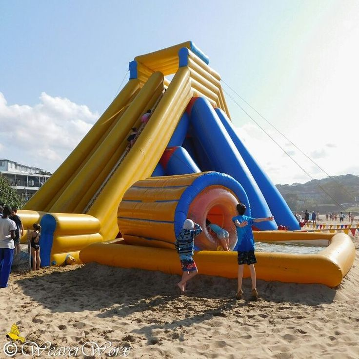 Waterslide fun on St Michael's-on-Sea beach