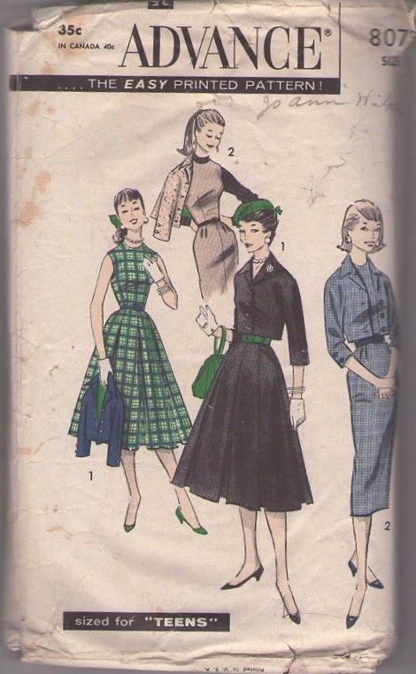 MOMSPatterns Vintage Sewing Patterns - Advance 8078 Vintage 50's Sewing Pattern SNAZZY Mad Men, Lucy Vixen Sheath Jumper or Full Skirt Dress & Cropped Suit Jacket