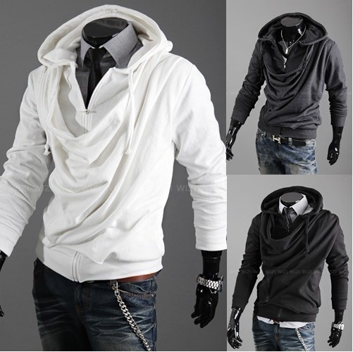 Men's slim fit hoody with cowl draped neck line