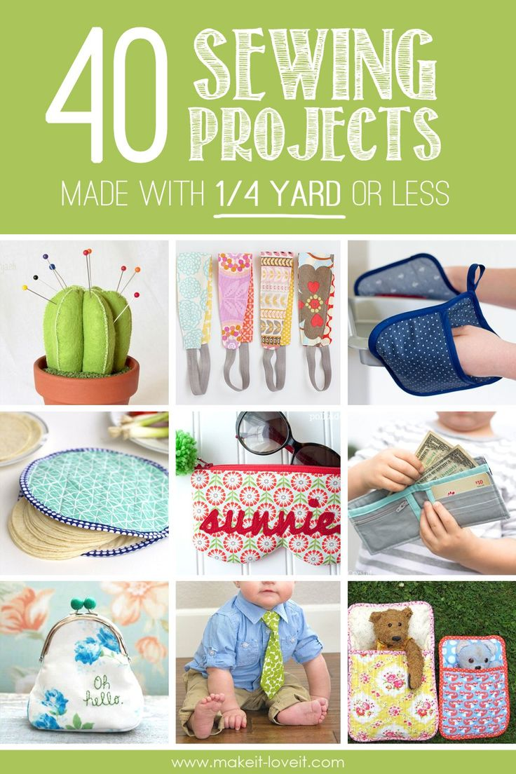 40 Sewing Projects Made with 1/4 Yard or Less | via www.makeit-loveit.com