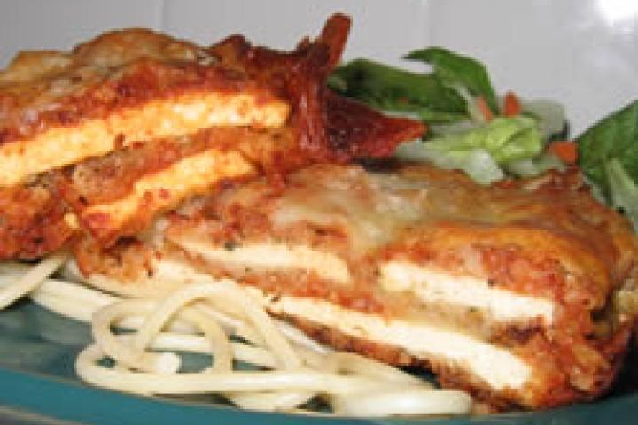 Tofu Parmigiana - use vegan cheese or nutritional yeast to make vegan