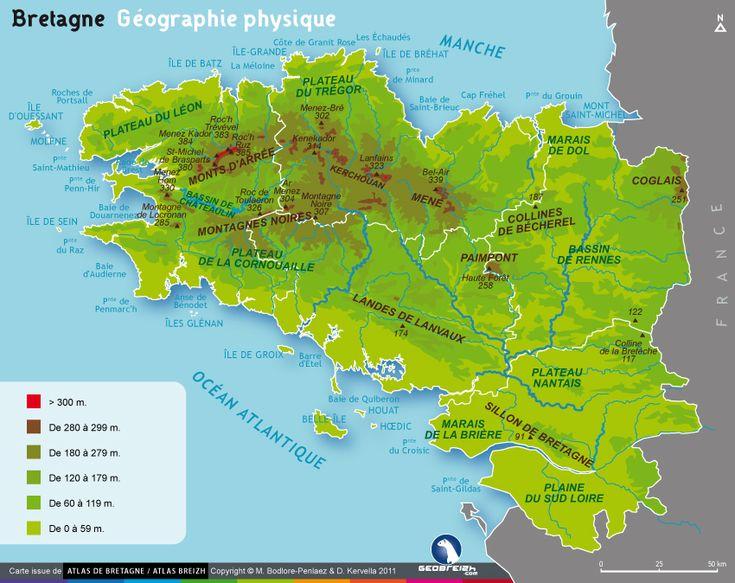 La carte geographique et physique de la Bretagne | La ...