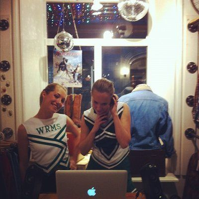 Played in Vintage cheerleader outfits in a fashionstore in the central parts of Stockholm.