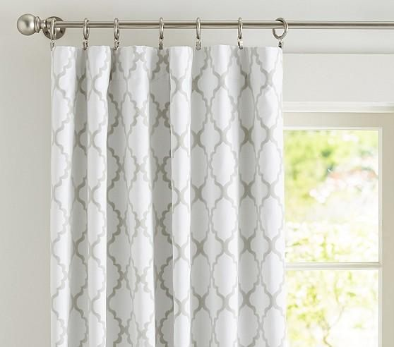 Window Treatments   Addison Flocked Blackout Panel | Pottery Barn Kids    Gray And White Geometric