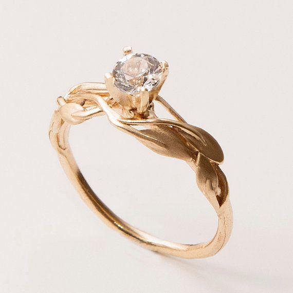 14K Gold und Diamant Verlobungsring und ein Gold von doronmerav, $850.00