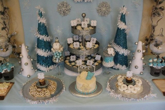 Dessert Table at a Winter wonderland party #winter #party