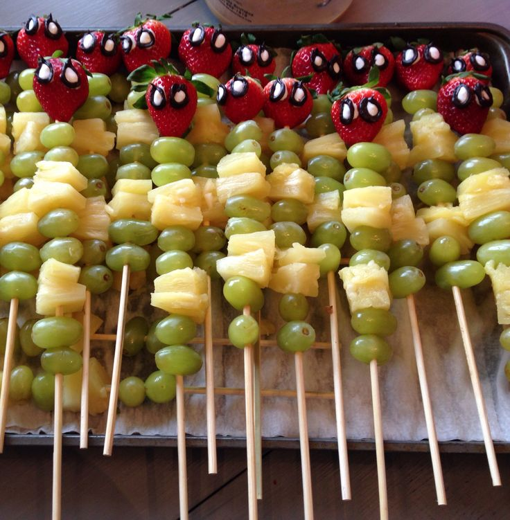 Spiderman Fruit Kabobs. Cost effective party themed food.