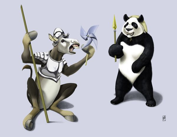 Donkey Xote and Sancho Panda (Colour) art | decor | wall art | inspiration | animals | home decor | idea | humor | gifts