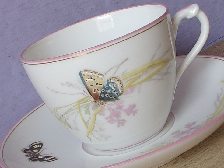 Antique 1870's Butterfly Teacup and Saucer, Haviland Limoges tea cup, French porcelain tea cup, Antique teacup, Victorian tea cup, China tea by ShoponSherman on Etsy