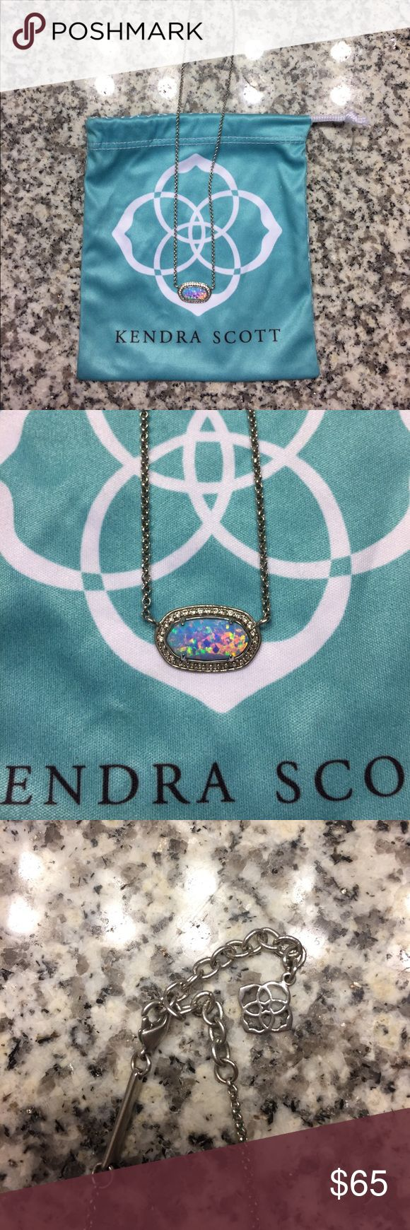 """Kendra Scott """"Elisa"""" Ice Blue Kyocera Opal PRICE FIRM. Silver, 15"""" chain with 2"""" extender. Lobster claw closure. Worn twice. Kendra Scott Jewelry Necklaces"""
