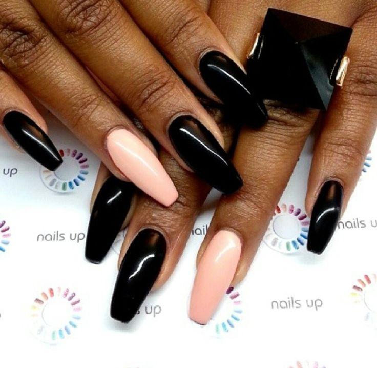 Black & Pastel Peach Nails