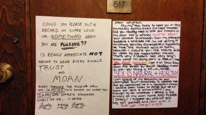 Chicago Neighbors Exchange Passive Aggressive Letters About Sex NoisesAggressive Note, Go Girls, Passive Aggressive, Neighbor Fight, Loud Sex, Menu, Happy Places, Funny Stuff, Chicago Neighbor