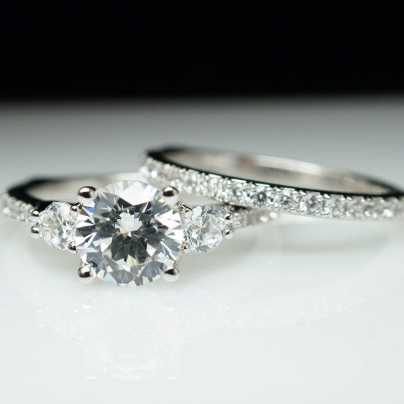Beautiful 3 Stone Solitaire Diamond Engagement Ring & Wedding Band Complete Bridal Set Customizable Diamond Wedding Ring Carat Sizes