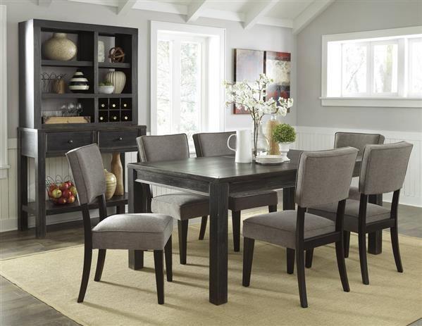 Gavelston Urbanology Black Gray Wood 7pc Dining Room Set