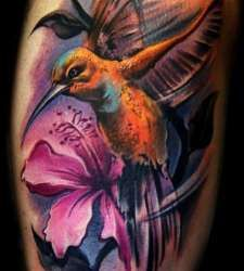 3d colorful bird tattoo on leg. Check out more bird tattoos and various other tattoo designs and tattoo ideas, check out www.tattoovault.com/