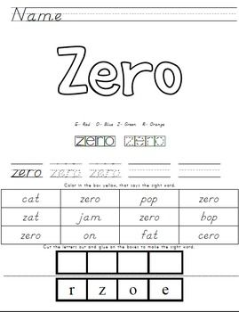 number sight word sheets zero ten tpt free lessons teaching sight words spelling worksheets. Black Bedroom Furniture Sets. Home Design Ideas